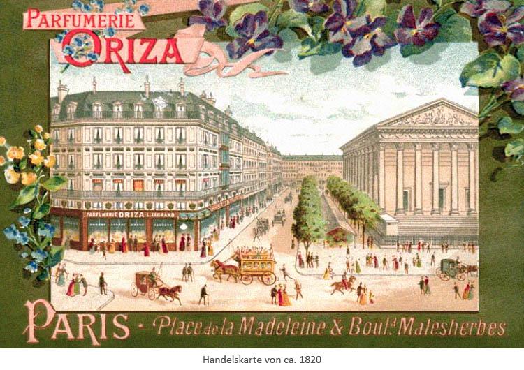 Handelskarte: Straßenflucht mit Parfümeriegebäude ~1820, Paris