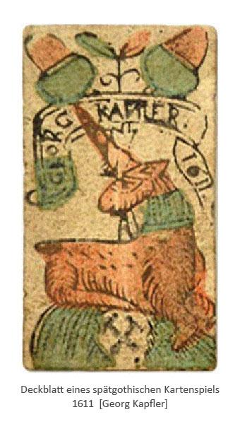 kolorierter Holzschnitt: spätgothische Spielkarte -1611