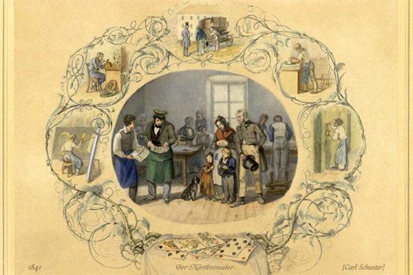 Stich: Besucher in der Kartenmaler-Werkstatt umgeben von Arbeitsszenen in Vignette - 1841