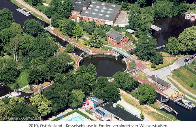 Farbfoto: Luftaufnahme d. Kesselschleuse Emden, die 4 Kanäle verbindet - 2010