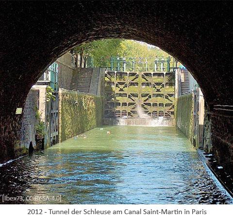 Farbfoto: Tunnel der Schleuse am Canal Saint-Martin in Paris - 2012