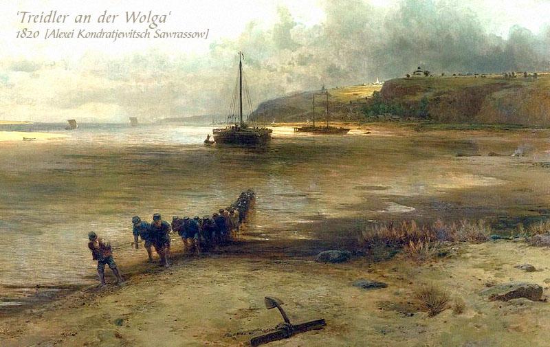 Gemälde: Männerkolonne zieht großen Lastkahn - 1820