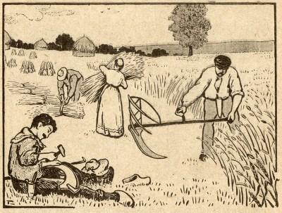Getreide wird gemäht und gebunden - jemand denkelt ein Sensenblatt