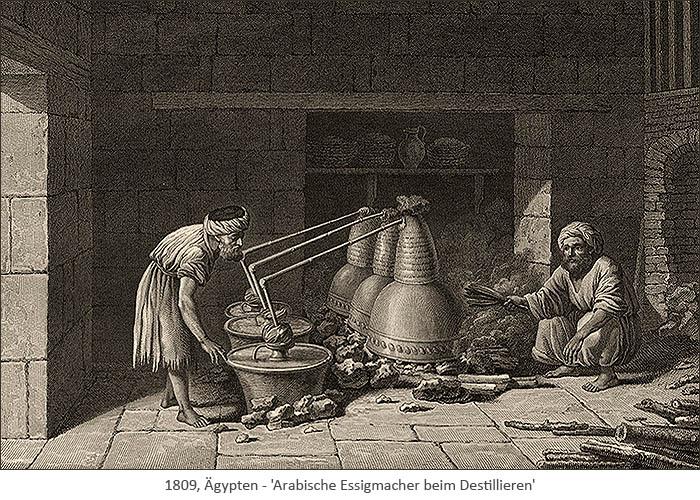 Kupfestich: Arabische Essigmacher beim Destillieren - 1809, EG