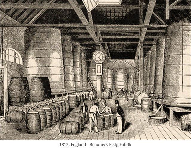 Holzstich: Beaufoy's Essig Fabrik - 1812, GB
