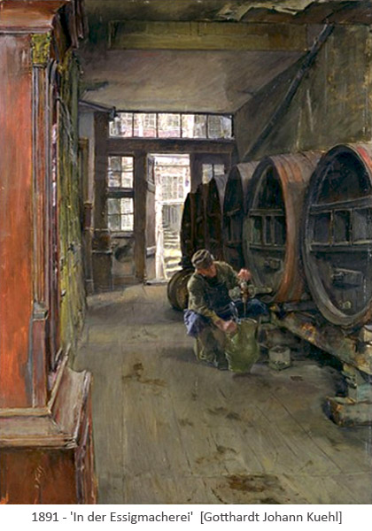 Gemälde: Mann zapft Essig aus großem Holzfass - 1891