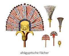 Farblitho: diverse Formen ägyptischer Fächer