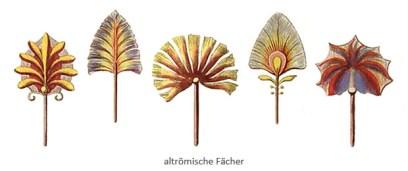 Farblitho: diverse Formen römischer Fächer