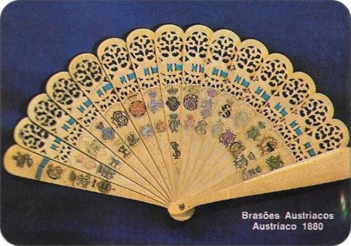 spanisches Sammelbild mit österr. Fächer von 1880