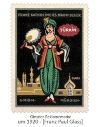 Künstler-Reklamemarke: Türkin mit Fächer ~1920