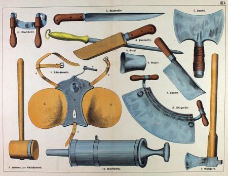 Übersicht der Werkzeuge des Fleischers