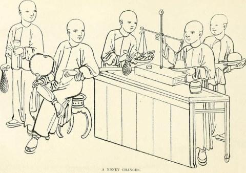 Zeichnung: einige Kunden beim Geldwechsler