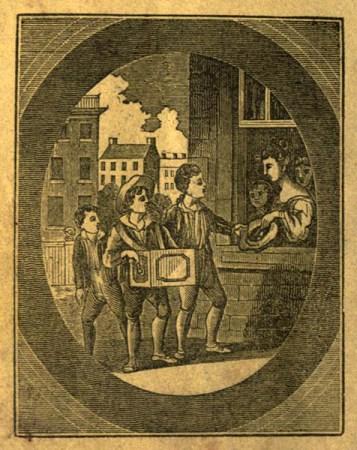 Leierkastenmann in Bgleitung anderer junger Herren spielt vor Fenster mit Damen