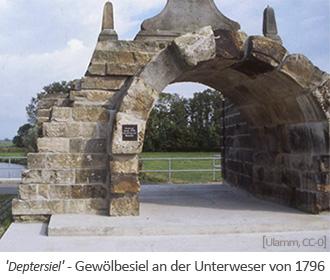 Farbfoto: rekonstruiertes Gewölbesiel an der Unterweser von 1796