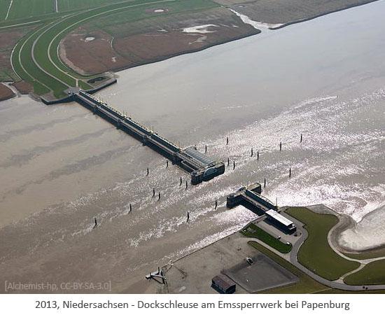 Farbfoto: Luftaufnahme der Dockschleuse am Emssperrwerk bei Papenburg - 2013, Niedersachsen