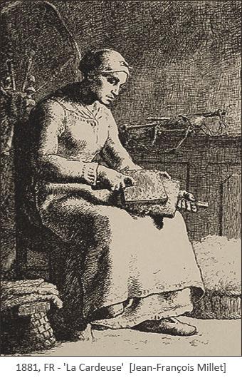 Zeichnung: Frau bearbeitet sitzernd Wolle mit Handkarden - 1881, FR