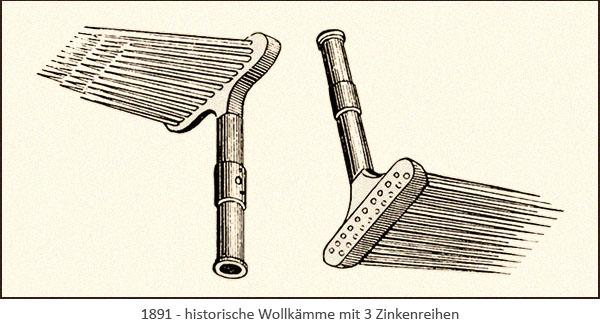 Zeichnung: hist. Wollkämme mit 3 Zinkenreihen - 1891