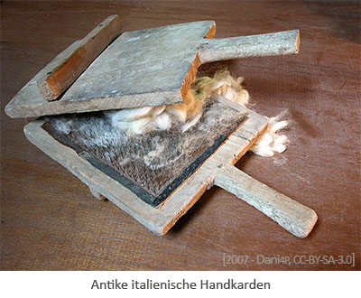 Farbfoto: antike Handkarden - 2007, IT