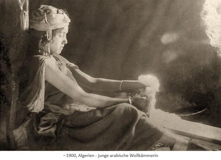 sw Foto: junge arabische Wollkämmerin in Algerien ~1900