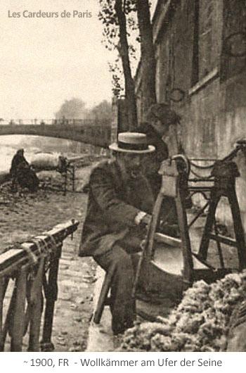 sw Fotopostkarte: Pariser Wollkämmer am Ufer der Seine ~1900