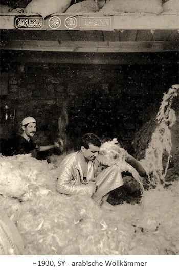 sw Foto: arabische Wollkämmer in Syrien ~1930
