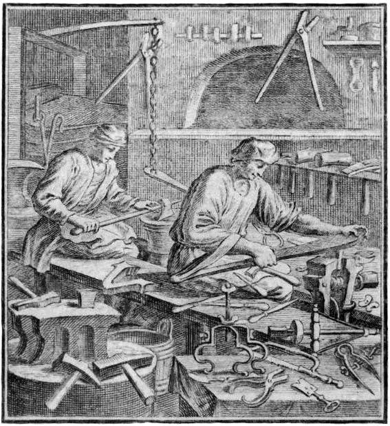 Stich: zwei Männer arbeiten in einer Werkstatt