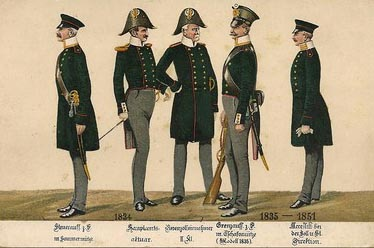 AK Litho: fünf Männer in Uniform