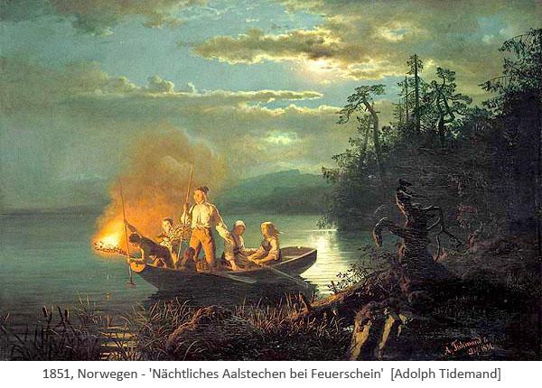 Gemälde: Nächtliches Aalstechen mit Kahn, an dessen Bug brennendes Reisig - 1851, Norwegen