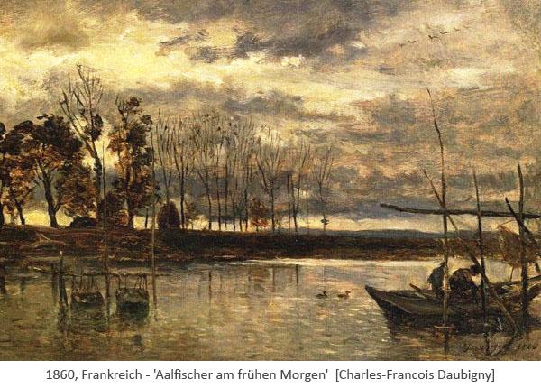 Gemälde: Aalfischer früh am Morgen bei den Reusen - 1860, FR