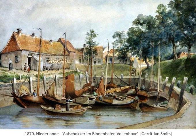 Gemälde: Aalschokker im Binnenhaven Vollenhove - 1870, NL