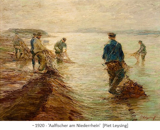 Gemälde: Fischer fangen Aale mit Netzen ~1920