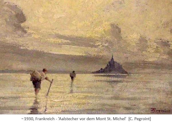 Gemälde: Aalstecher waten durchs Wasser vor dem Mont St. Michel ~1930, FR
