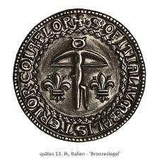 Zeichnung: italienisches Armbruster Siegel aus Bronze - spätes 13. Jh