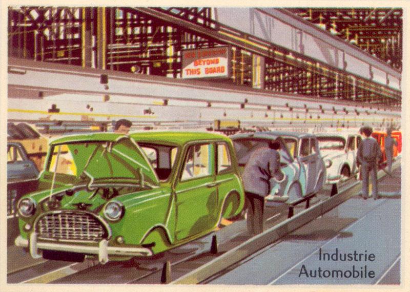 farbige illu: Autobau: Montage der Karosserie