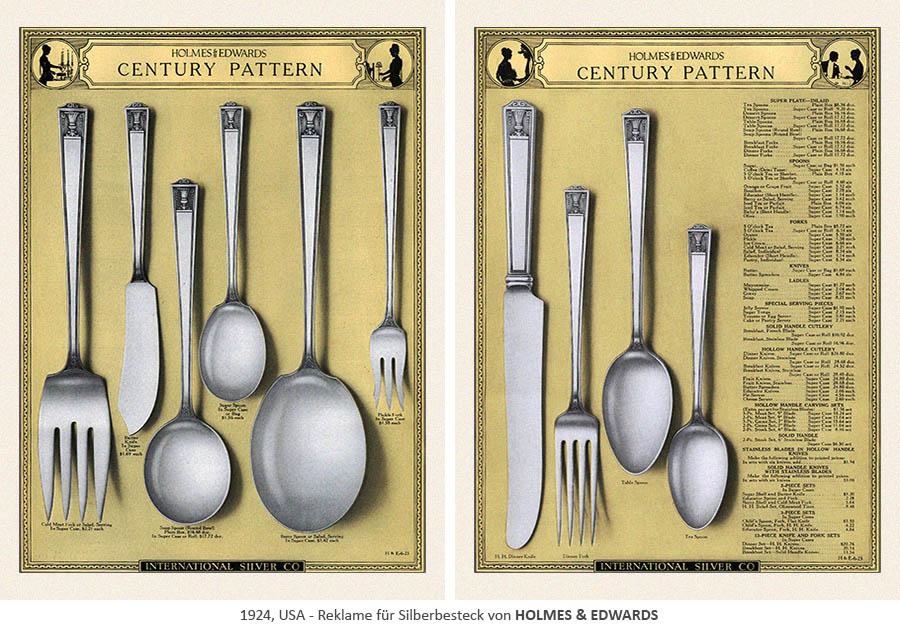 Reklame für Silberbesteck von HOLMES & EDWARDS - 1924, USA
