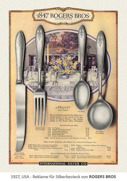 Reklame für Silberbesteck von RROGERS BROS - 1927, USA