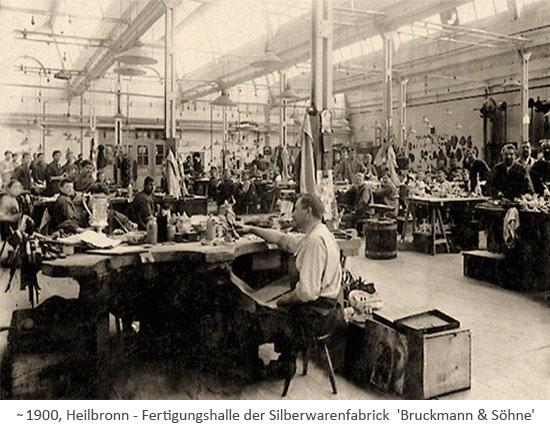 sw Foto: Fertigungshalle mit vielen Arbeitern ~1900, Heilbronn
