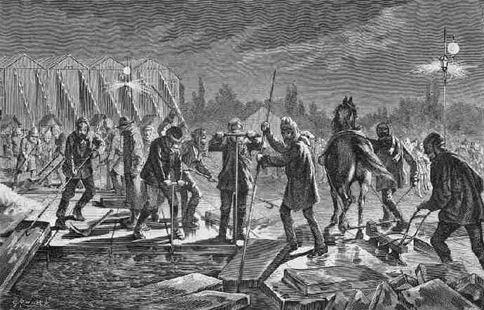 sw-illu: Männer trennen Eis vom Gewässer ab