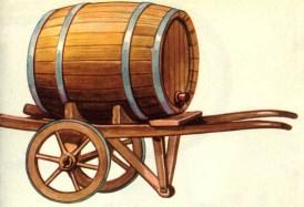 Zeichnung: großes Holzfass auf zweirädriger Karre