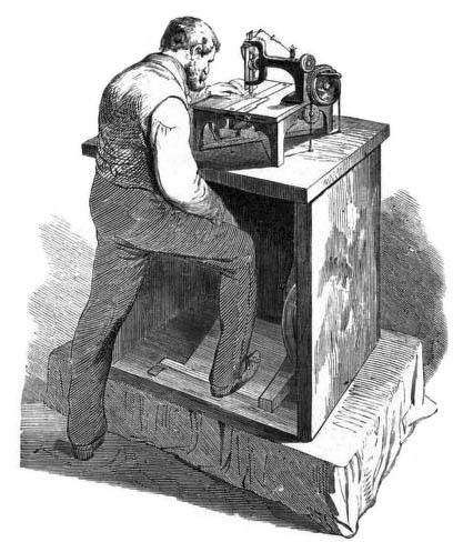 sw-Zeitungsillu: Mann an einer Nähmaschine