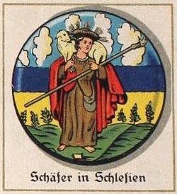 rundes Bild: Mann mit Hirtenstab und Schaf auf den Schultern