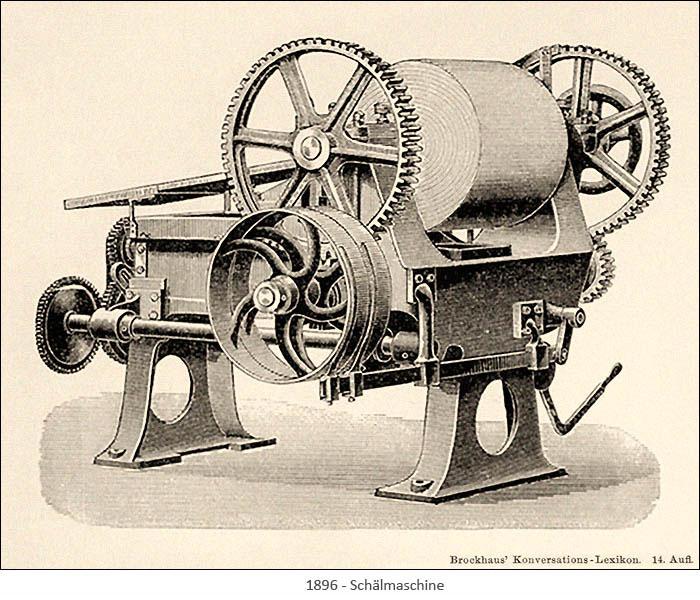 Stahlstich: Schälmaschine - 1896 [Brockhaus]