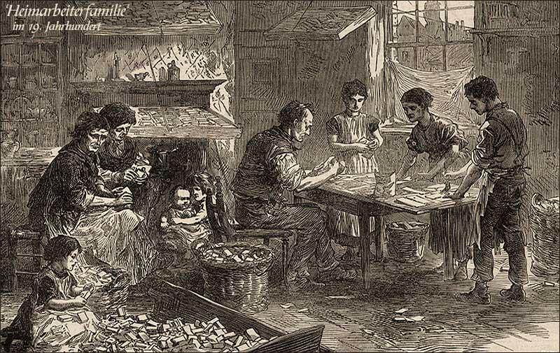 Holzstich: Familie von jung bis alt fertigt Streichholzstachteln an - 19.Jh