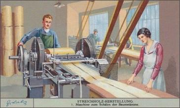 Sammelbild: je ein Mann und eine Frau arbeiten an Schälmaschinenn