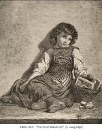 Kupferstich: müdes, am Boden sitzendes Streichholzmädchen - 1860, USA