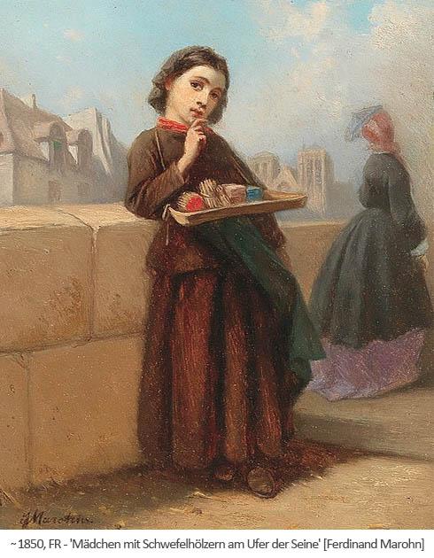 Gemälde: Mädchen mit Schwefelhölzern am Ufer der Seine ~1850, FR