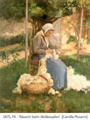 Gemälde: Bäuerin beim Wollezupfen - 1875, FR