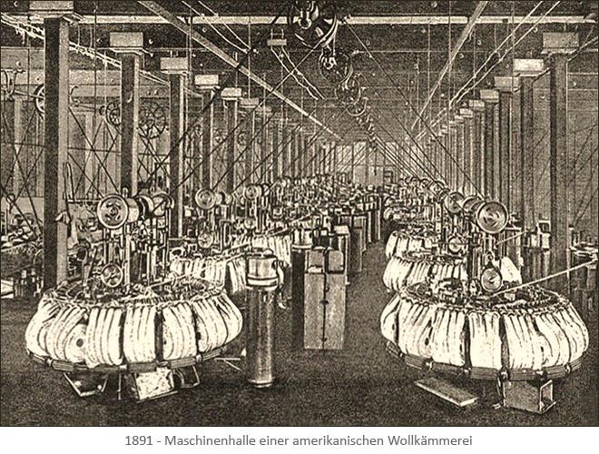 Litho: Maschinenhalle einer Wollkämmerei - 1891, USA