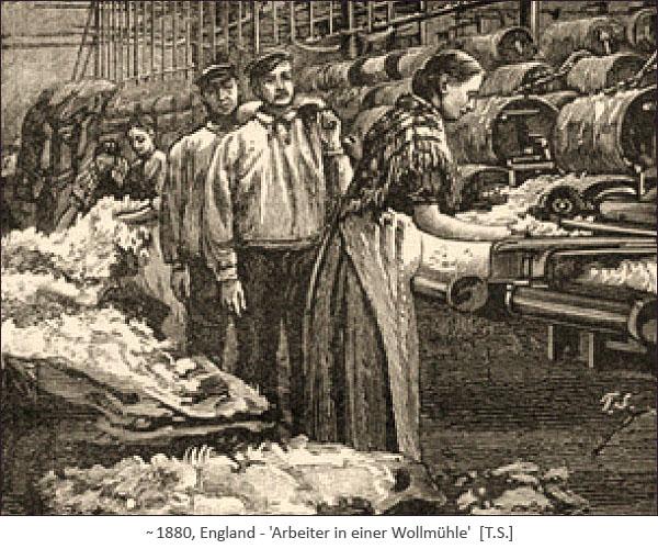 Holzstich: Frauen u. Männer arbeiten in einer Wollmühle ~1880, GB