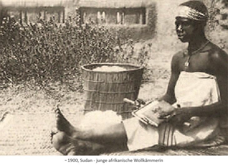 sw Fotopostkarte: junge afrikanische Wollkämmerin ~1900, Sudan